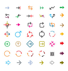set color arrows collection icons vector image