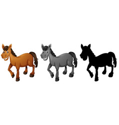 set of horse smiling vector image