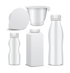 set of plastic bottle and round white vector image