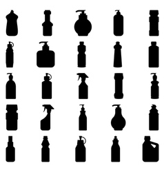Set of silhouettes of containers and bottles house vector