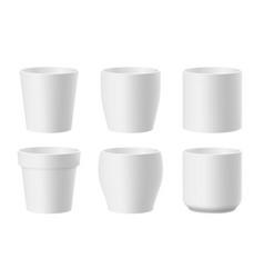 Set realistic white flower pots vector