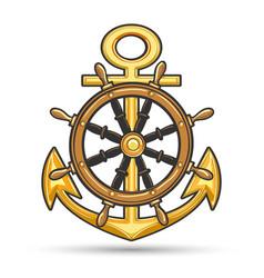ship anchor and steering wheel nautical emblem vector image