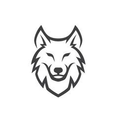 simple wolf head line art vector image