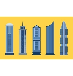 Skyscraper flat icon set isolated vector
