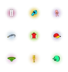 Sport with bat icons set pop-art style vector image