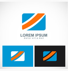 Square shape colored business logo vector