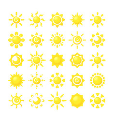 sun collections yellow hot sunshine symbols for vector image
