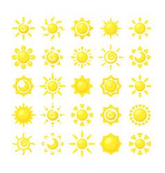 sun collections yellow hot sunshine symbols vector image