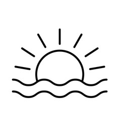 sunset or sunrise icon on white background vector image