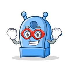super hero pencil sharpener character cartoon vector image