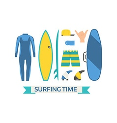 Surfing Equipment Set vector image