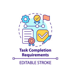 Task completion requirements concept icon vector