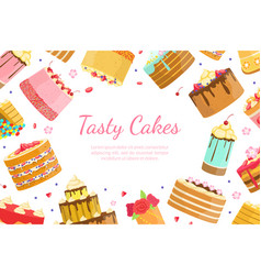 tasty cakes banner template bakery shop sweet vector image