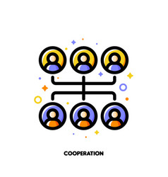 team cooperation icon for corporate management vector image
