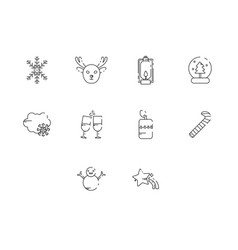Thin line winter season icon set vector