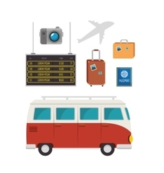 Tourism equipment set icons vector