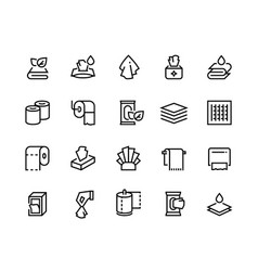 towels and napkins line icons textile bathroom vector image