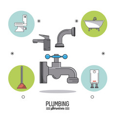 White background poster plumbing services with vector