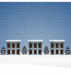 Winter landscape with houses and Christmas trees vector image