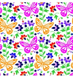 colorful butterflies and flowers vector image vector image