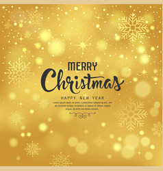 merry christmas with snowflake on gold background vector image