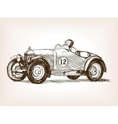Retro sport race car hand drawn sketch vector image