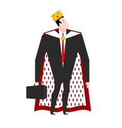 Boss king in crown and royal cloak businessman vector