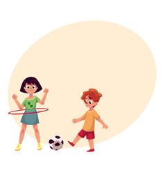 boy and girl playing football and spinning hula vector image