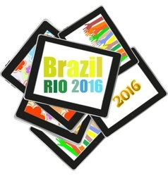 Brazil Rio 2016 Summer Games tablet pc set vector image vector image