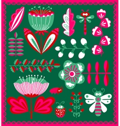 floral decorative design elements set with bugs a vector image