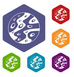 moon icons set hexagon vector image