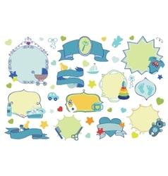 Newborn Baby boy badgeslabels set Baby shower vector image vector image