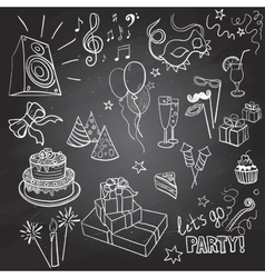 set of sketch party objects hand-drawn vector image vector image