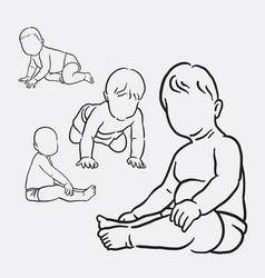 baby activity sketches style vector image vector image