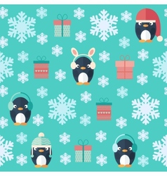 Christmas flat seamless pattern with gifts and vector image vector image