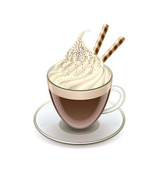 Coffee with icecream Glace isolated vector image vector image
