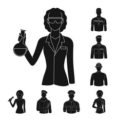 people of different professions black icons in set vector image