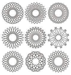 Set of rosettes ornaments and decorative lines vector image vector image
