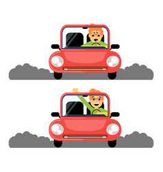 woman first time behind the wheel of the red car vector image