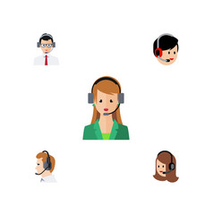 flat icon hotline set of operator service vector image vector image
