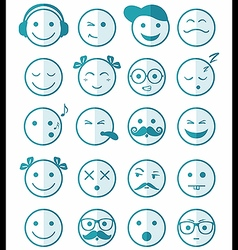 icons set 20 blue color of half vector image vector image