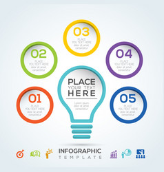 light bulb infographic diagram presentation steps vector image vector image