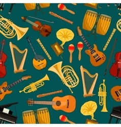 Music pattern of musical instruments flat icons vector image vector image