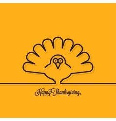 Thanksgiving turkey line on yellow background vector image vector image