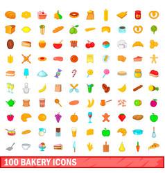 100 bakery icons set cartoon style vector image
