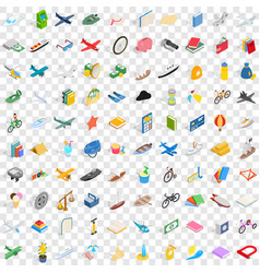 100 toys for kids icons set isometric 3d style vector image