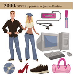 2000 fashion style man and woman personal objects vector