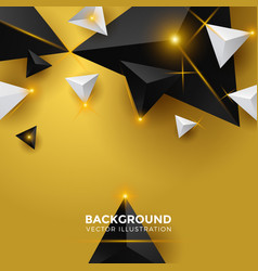 abstract gold and black triangle background 3d vector image