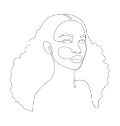 african woman face one line drawing abstract vector image