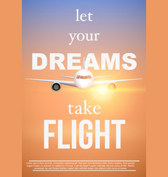 Air travel quotes let your dreamstake flight vector